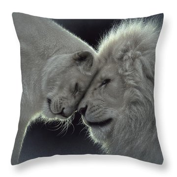 White Lion Love Throw Pillow
