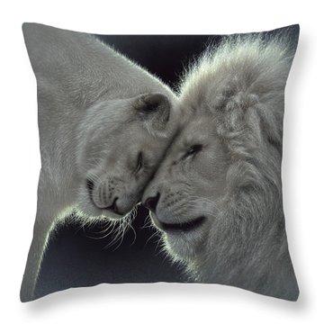 White Lion Love Throw Pillow