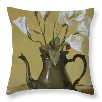 White Lisianthus In Silver Coffeepot Throw Pillow