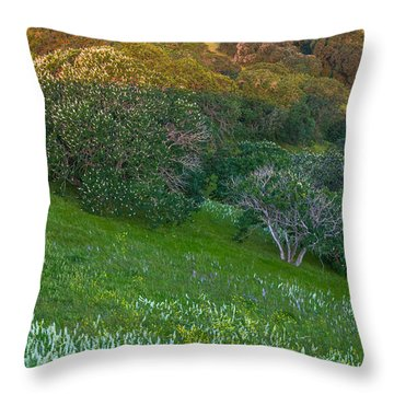 White Lupine And Buckeye Throw Pillow by Marc Crumpler