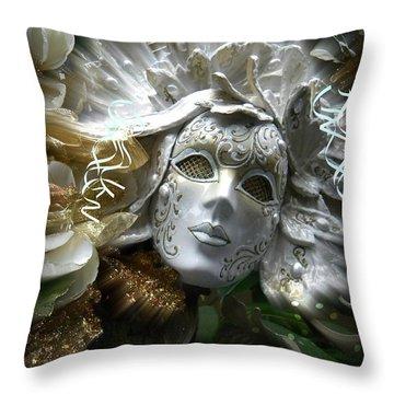 White Masked Celebration Throw Pillow