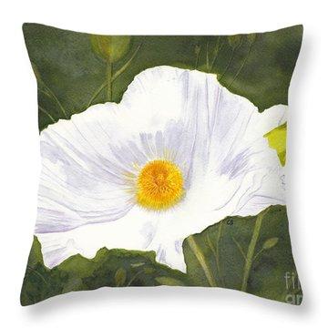 White Matilija Poppy  Throw Pillow