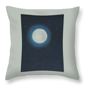 White Moon At Night Throw Pillow