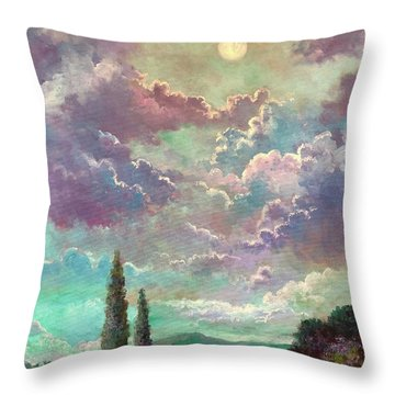 White Moon Rising Throw Pillow