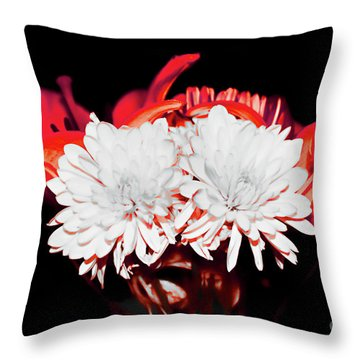 White Mums And Red Lilies Throw Pillow