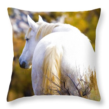 White Mustang Mare Throw Pillow