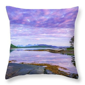 White Night In Nordkilpollen Cove Throw Pillow