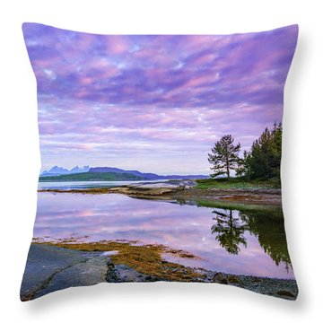 Throw Pillow featuring the photograph White Night In Nordkilpollen Cove by Dmytro Korol