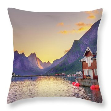 Throw Pillow featuring the photograph White Night In Reine by Dmytro Korol