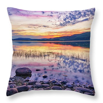 Throw Pillow featuring the photograph White Night Sunset On A Swedish Lake by Dmytro Korol