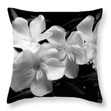 White Oleander Throw Pillow by Amar Sheow