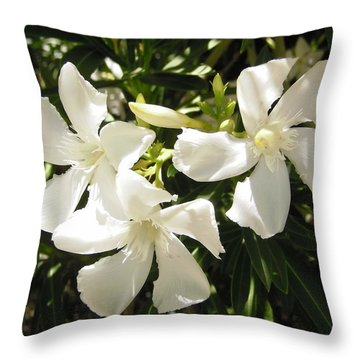 White Oleander Flowers Throw Pillow by Stephanie Moore