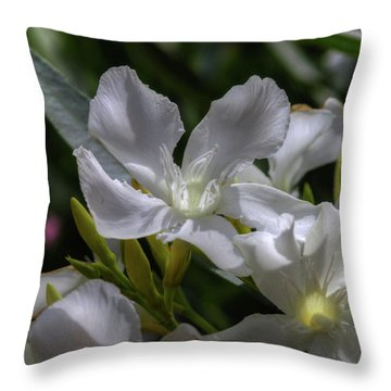 White Oleander Throw Pillow