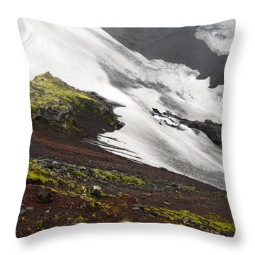 White On Black In The Icelandic Highlands Throw Pillow