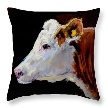 White On Brown Cow Throw Pillow