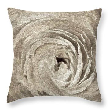 Throw Pillow featuring the painting White On White Rose by Joan Reese