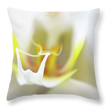 White Orchid Art By Sharon Cummings Throw Pillow