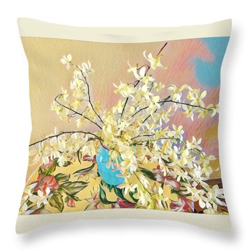 White Orchid Bouquet Pink/blue Throw Pillow