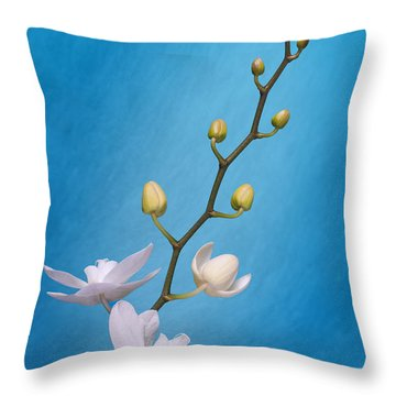 White Orchid Buds On Blue Throw Pillow