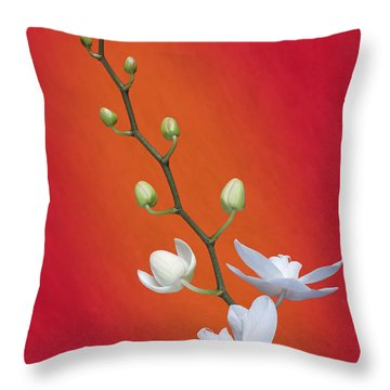White Orchid Buds On Red Throw Pillow