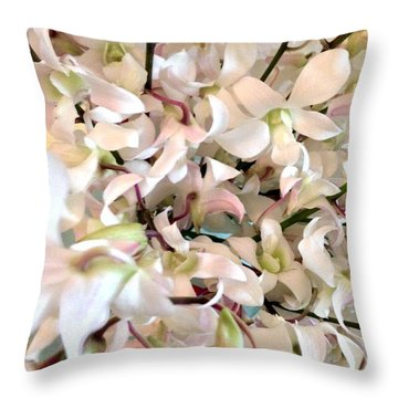 White Orchid Cluster Throw Pillow