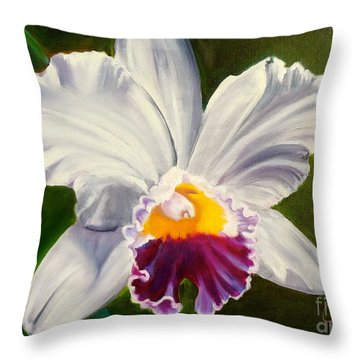 Throw Pillow featuring the painting White Orchid by Jenny Lee
