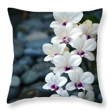 Throw Pillow featuring the photograph White Orchids by Debbie Karnes