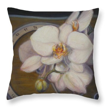 Throw Pillow featuring the painting White Orchids by Donelli  DiMaria