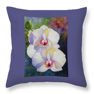 White Orchids Throw Pillow by Kerri Ligatich