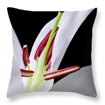 Throw Pillow featuring the photograph White Oriental Lily Opening - #1552 by David Perry Lawrence