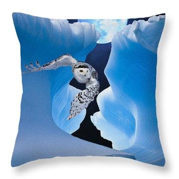 White Owl Throw Pillow by Jack Zulli