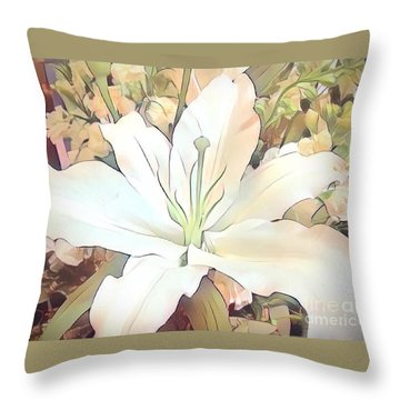 White Painted Lily Throw Pillow