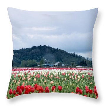 White Pass Highway With Tulips Throw Pillow
