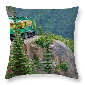 White Pass Train Alaska - Canada Throw Pillow