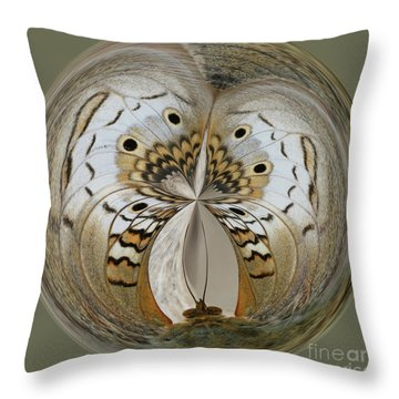 White Peacock Butterfly Orb Throw Pillow