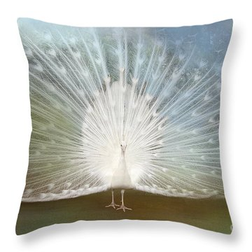 Throw Pillow featuring the photograph White Peacock In All His Glory by Bonnie Barry