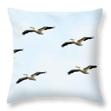 White Pelican Flyby Throw Pillow by Ricky L Jones