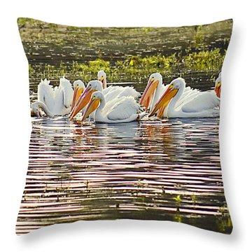 White Pelican Parade Throw Pillow