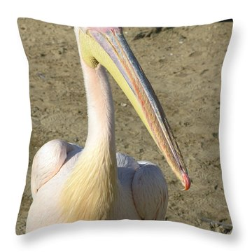 White Pelican Throw Pillow by Sally Weigand