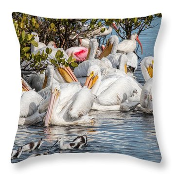 White Pelicans And Others Throw Pillow