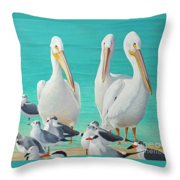 Throw Pillow featuring the painting White Pelicans by Jimmie Bartlett