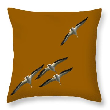 White Pelicans Transparency Throw Pillow