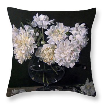 White Peonies Are Ready To Explode Throw Pillow