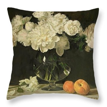 White Peonies In Giant Snifter With Peaches Throw Pillow
