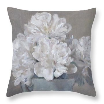 Gray Day For White Peonies Throw Pillow