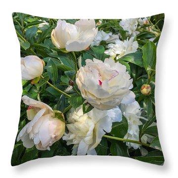 White Peonies In North Carolina Throw Pillow