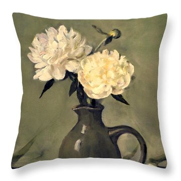White Peonies In Small Green Pitcher Throw Pillow