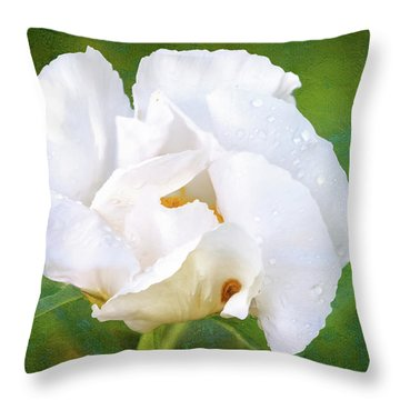 White Peony After The Rain Throw Pillow