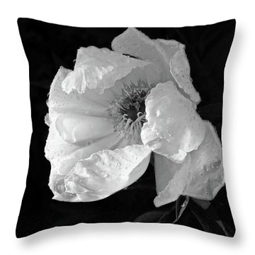 White Peony After The Rain In Black And White Throw Pillow by Gill Billington