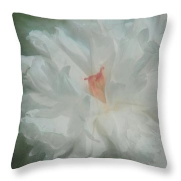 Throw Pillow featuring the photograph White Peony by Benanne Stiens